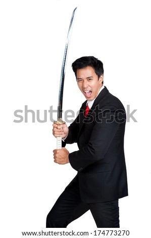 business man holding samurai sword isolated