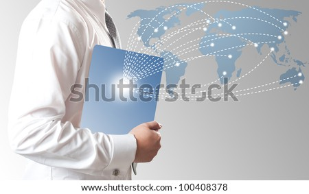 Business man holding smart phone with money in dollar sign coming to the phone - stock photo