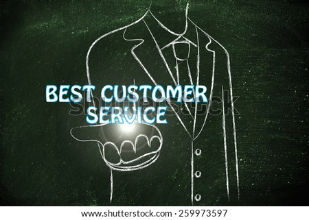business man holding the word Best Customer Service