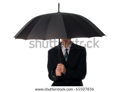 Business man holding umbrella