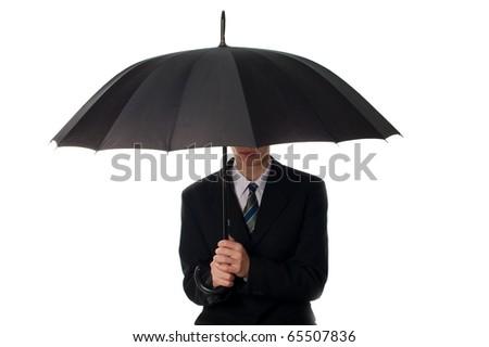 Business man holding umbrella - stock photo