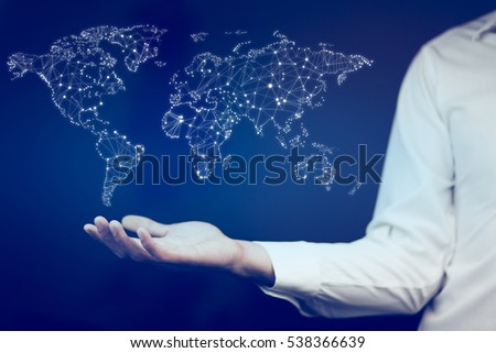 Business man holding world map hands stock photo edit now business man holding world map in hands gumiabroncs Image collections