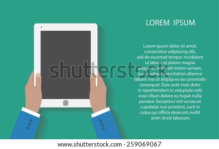 Business man holds holding tablet computer with blank screen. Using digital tablet pc. Flat design concept with copy space.  illustration