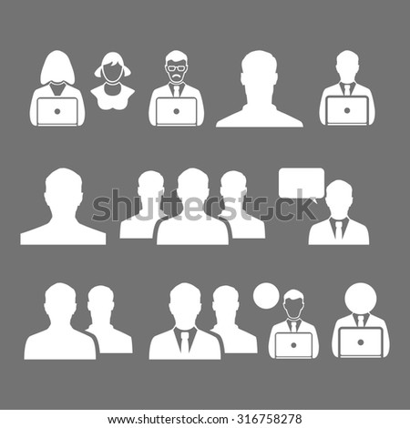 business man icon symbol, office, communication women art