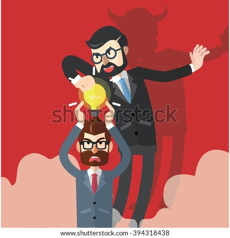 Business man idea stolen - stock photo