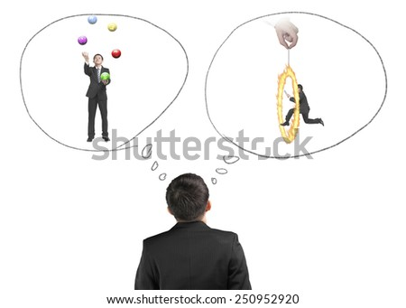 Business man imagining work situation isolated on white background