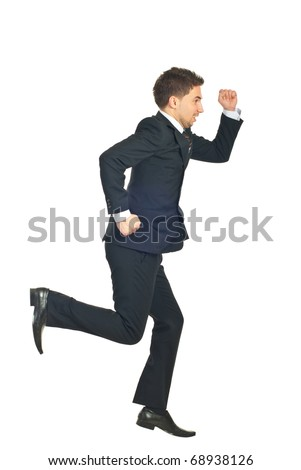 Business man in a hurry running away isolated on white background