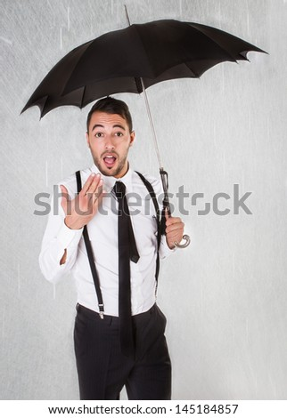 business man in a rainy day