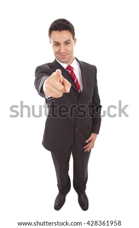 business man in a suit pointing with his finger