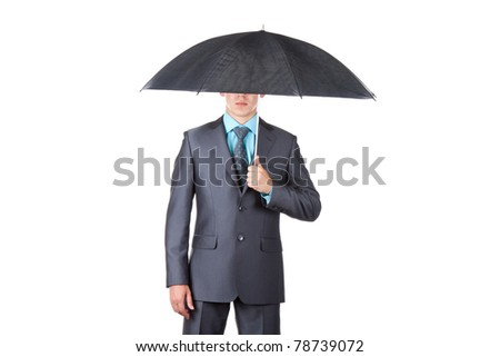 Business man in elegant modern suit hold an umbrella, isolated over white background. Concept. empty copy space. - stock photo