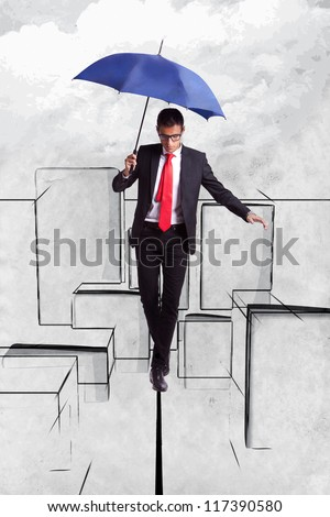 Business man in equilibrium on a rope over an illustrated  cityscape