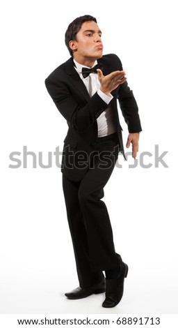 Business man in formal clothes in sending a gesture kiss