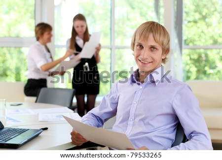 business man in office working with papers
