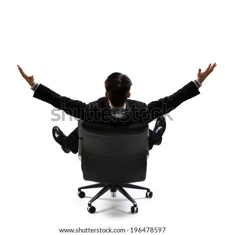 Business man in rear view sitting on a chair and open arms, Isolated over white