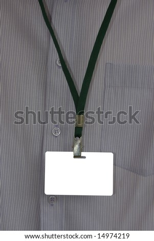 Business man in  shirt with name tag, insert your own text etc.