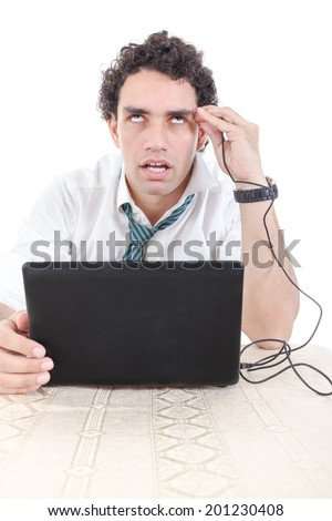 business man in suit addicted to internet put USB cable from laptop computer into his head and relaxes while going in deep sleep condition. Internet addiction concept