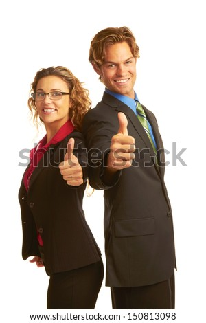 business man in suit giving the big thumbs up isolated on white background. - stock photo