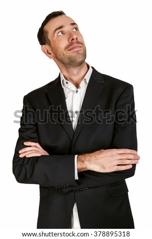 Business man in suit looking up, isolated over white background.