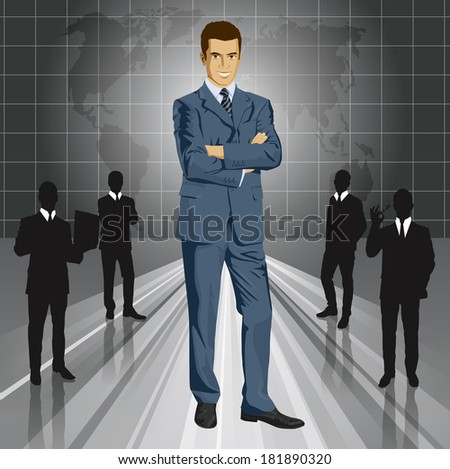business man in suit with folded hands. - stock photo