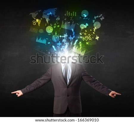 Business man in suit with graph and charts exploding from his body concept - stock photo