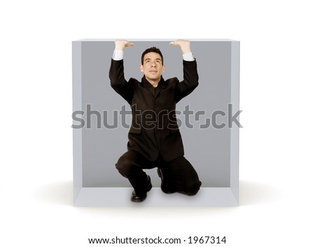 business man inside a virtual cage over white - stock photo