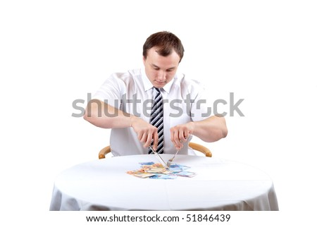 Business man is cutting euro on lunch, isolated white background. - stock photo