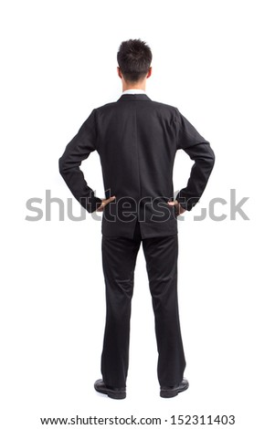 Business man isolated on white background, Back view concept idea for design work