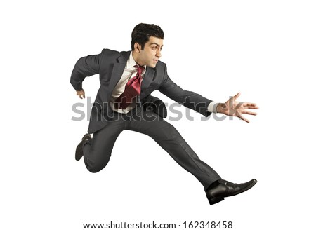 Business man jumping and running forward - stock photo