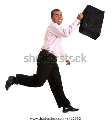 business man jumping and running with his briefcase isolated over a white background