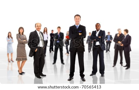 Business man leading a team isolated over a white background - stock photo