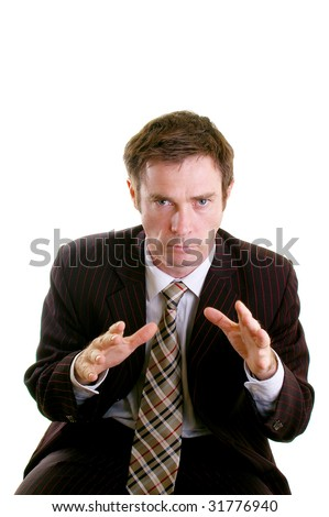 Business man leaning on chair gesturing for argument - stock photo