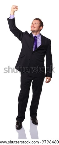 business man look up isolated on white - stock photo