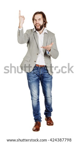 business man looking at camera and pointing finger up. image isolated over white background. people, male, business and portrait concept - stock photo