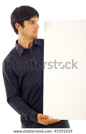 Business man looking at the blank sign, banner,  isolated over a white background