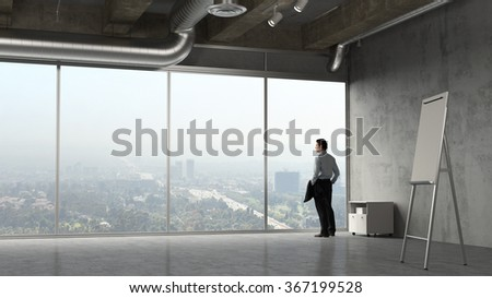 Business man looking out to Los ANgeles from a conference room (3D Rendering) - stock photo