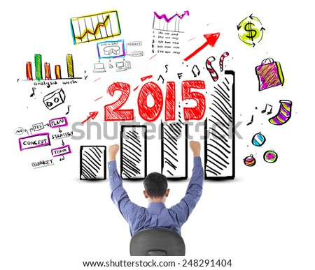 Business man looking success with profit concept in year 2015 - stock photo