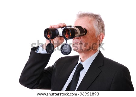 Business man looking through binoculars. Isolated on white