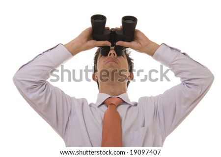 Business man looking up with binoculars - stock photo