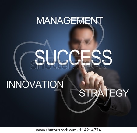 business man make success by management, innovation and strategy - stock photo