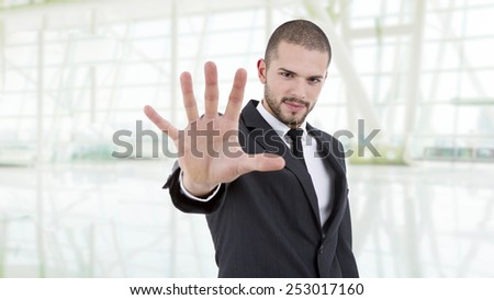 business man making stop at the office - stock photo