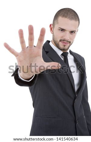 business man making stop. Focus on the head - stock photo