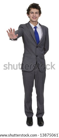Business Man Making Stop Sign Over White Background