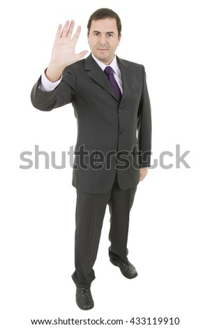 business man making stop with his hand, full length, isolated