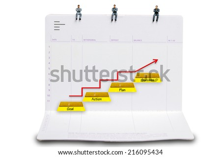 business man miniature figure sit down on passbooks and  walking up gold bars stepping ladder have red rising arrow word goal plan action success on white background with clipping path - stock photo
