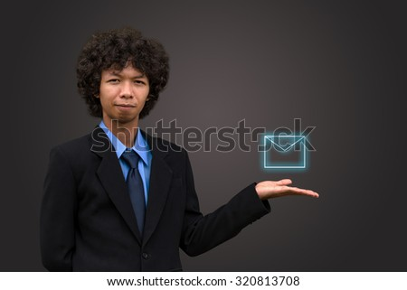 Business man model with icon mail. - stock photo