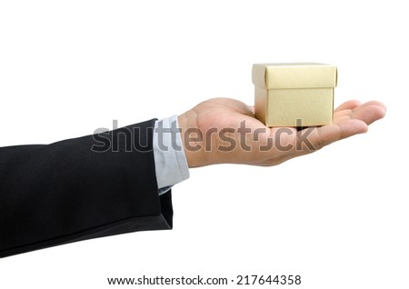 business man offer gift box in hand isolated on white background - stock photo