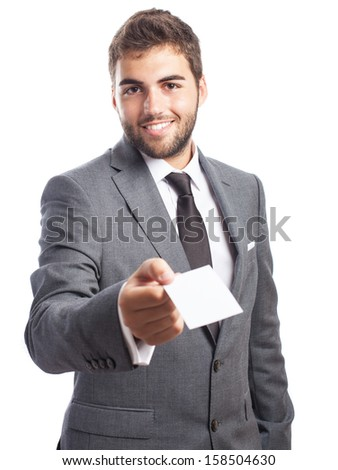 business man offering his contact card isolated on white - stock photo