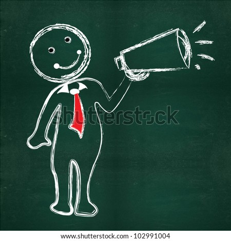 Business man on blackboard background - stock photo