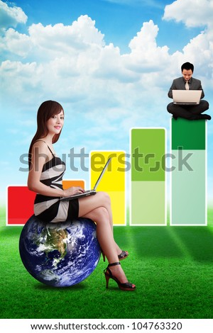 Business man on high graph : Elements of this image furnished by NASA