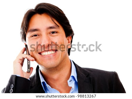 Business man on his cell phone - isolated over a white background